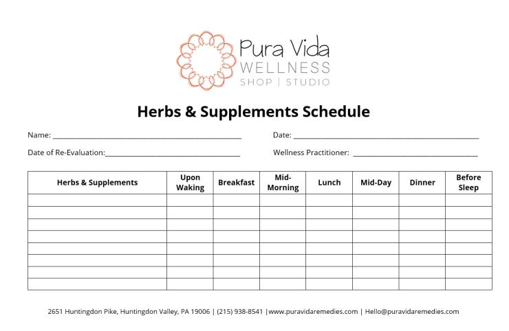 Herbs & Supplements Schedule